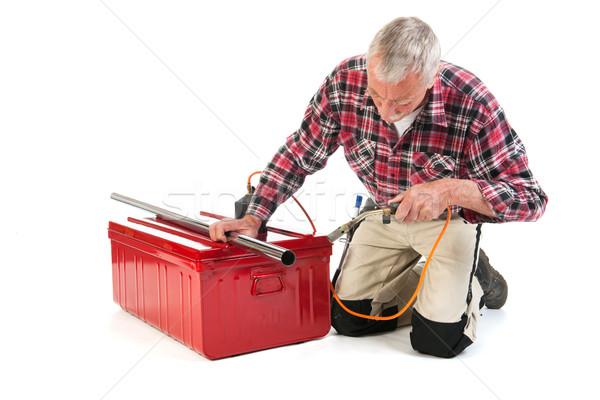 Senior manual workersolder metal Stock photo © ivonnewierink