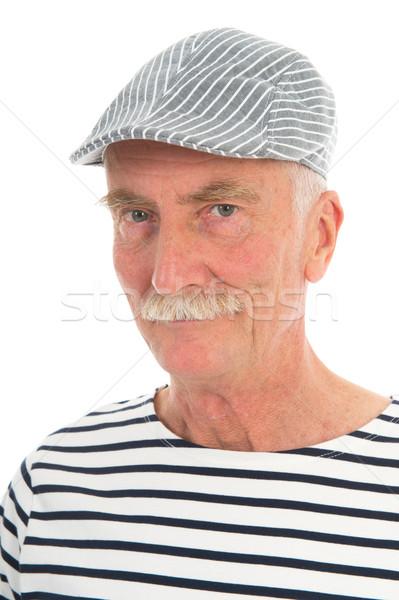 Retrato aposentados homem bigode francês boné Foto stock © ivonnewierink