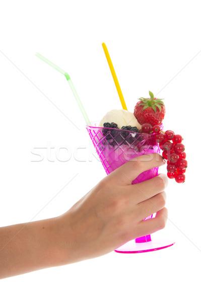 фрукты шербет розовый стекла свежие фрукты Сток-фото © ivonnewierink
