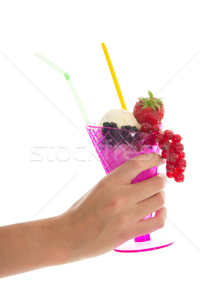 Meyve şerbet pembe cam taze meyve Stok fotoğraf © ivonnewierink