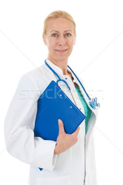 Zdjęcia stock: Lekarz · niebieski · schowek · odizolowany · biały · szczęśliwy