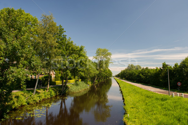 Landschap nederlands kanaal water straat zomer Stockfoto © ivonnewierink
