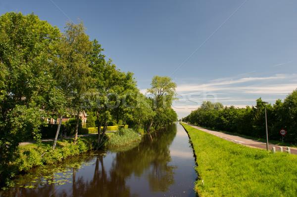 Paisaje holandés canal agua calle verano Foto stock © ivonnewierink