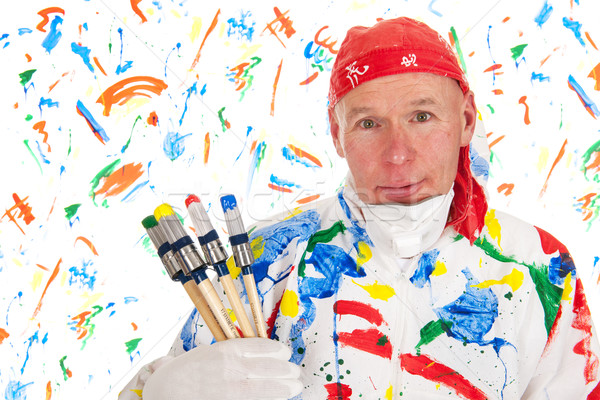 Colorful painting with safety mask Stock photo © ivonnewierink