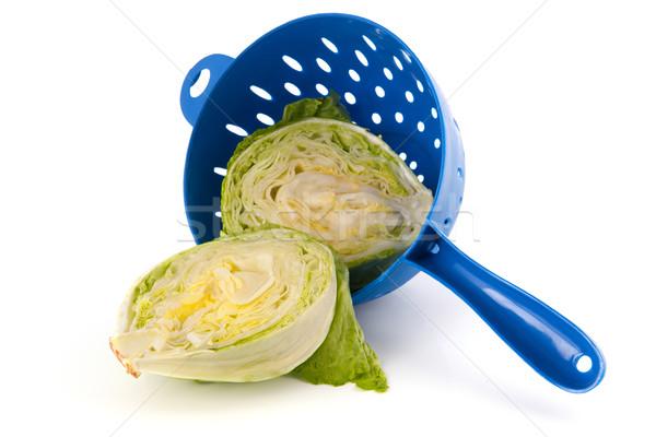 Jéghegy saláta kék izolált fehér étel Stock fotó © ivonnewierink