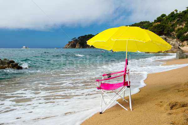 Yellow parasol and pink chair at the beach Stock photo © ivonnewierink