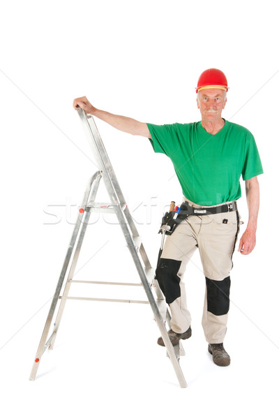 Manual worker with stepladder Stock photo © ivonnewierink
