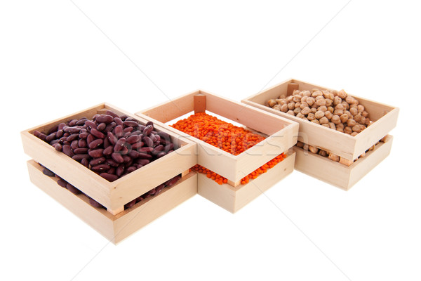 Row crates with legumes Stock photo © ivonnewierink