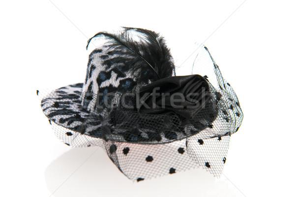 女性 帽子 ベール 黒白 ヴィンテージ 黒 ストックフォト © ivonnewierink