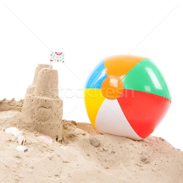 Tengerpart homokvár játékok izolált fehér háttér Stock fotó © ivonnewierink
