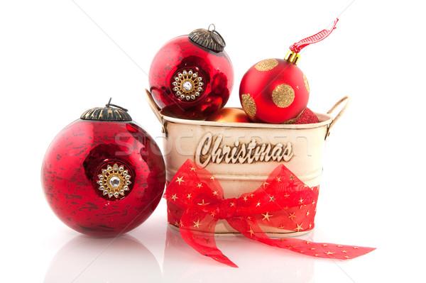 Karácsony dekoráció golyók piros arany fém Stock fotó © ivonnewierink