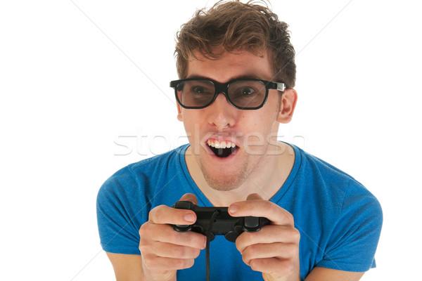 Deli erkek heyecan oynama bilgisayar oyunu Stok fotoğraf © ivonnewierink