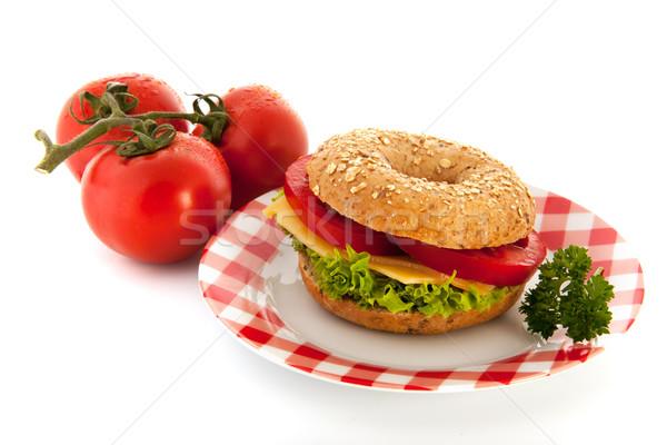 ベーグル チーズ 新鮮な 野菜 パン 白 ストックフォト © ivonnewierink