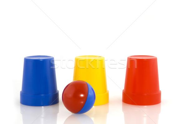 Truque de mágica bola azul vermelho plástico amarelo Foto stock © ivonnewierink