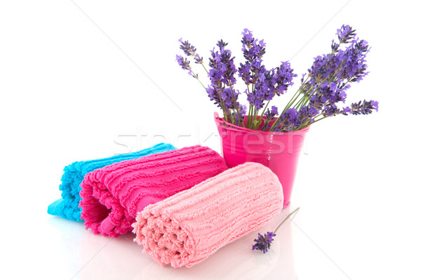 Rolled towels with lavender sprigs Stock photo © ivonnewierink