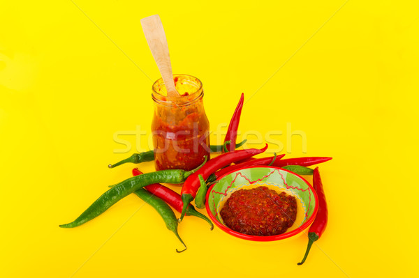 Red hot chili peppers paste Stock photo © ivonnewierink