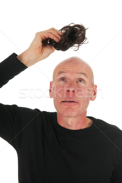 Stockfoto: Nieuwe · haren · kaal · man · witte