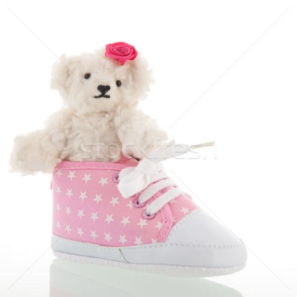 生まれる 白 手 テディベア ピンク ストックフォト © ivonnewierink