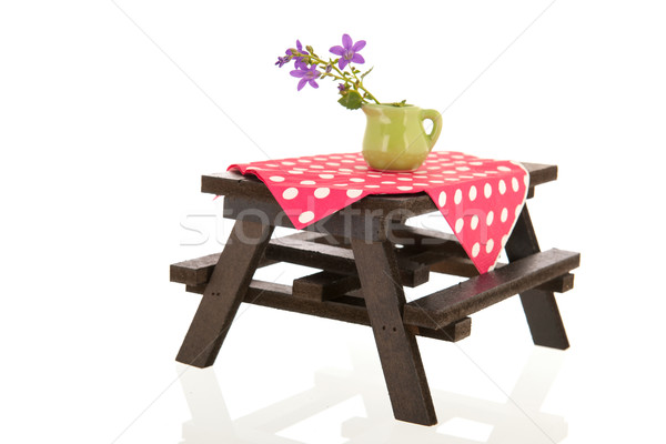 Picknicktafel vaas bloemen eten witte studio Stockfoto © ivonnewierink