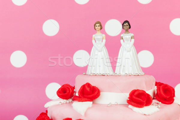 Wedding cake with lesbian couple Stock photo © ivonnewierink