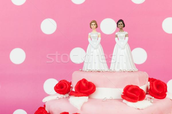 Wedding cake lesbiche Coppia rosa rose rosse top Foto d'archivio © ivonnewierink