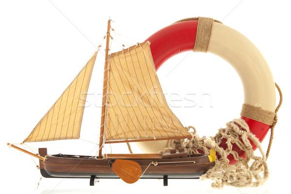 Foto stock: Barco · faro · pesca · vintage · blanco