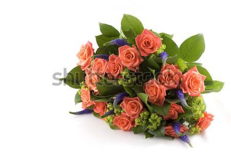 Oranje rozen bos paars bloemen verjaardag Stockfoto © ivonnewierink