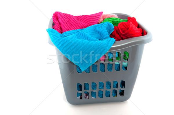 Cestino di lavanderia colorato asciugamani isolato bianco clean Foto d'archivio © ivonnewierink