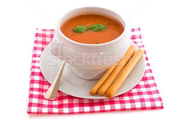 Zupa pomidorowa bazylia chleba odizolowany biały tle Zdjęcia stock © ivonnewierink