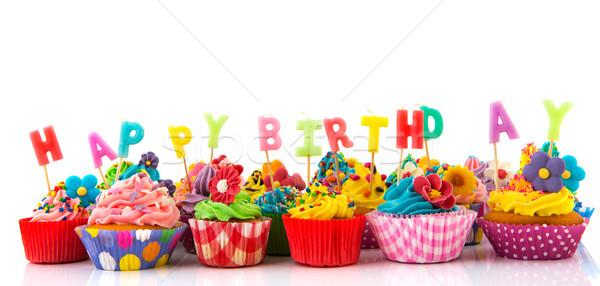 Happy birthday cupcakes Stock photo © ivonnewierink