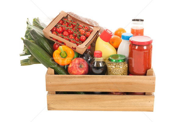 Wooden crate dairy groceries Stock photo © ivonnewierink