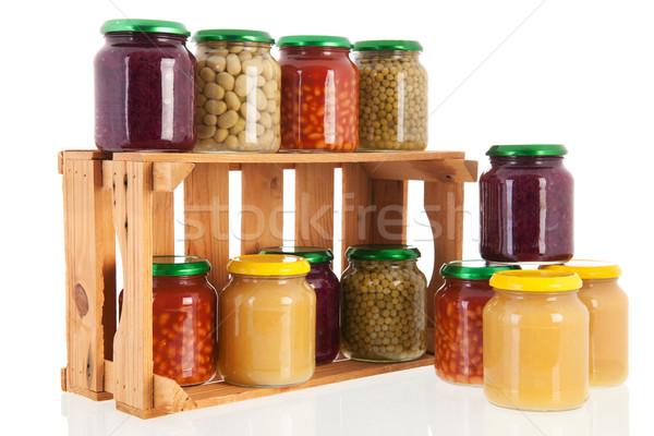 Fából készült láda megőrzött zöldségek tele üveg Stock fotó © ivonnewierink