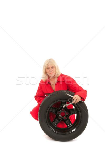 Stock fotó: Női · autó · szerelő · kerék · szerszámok · izolált