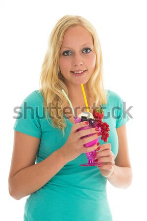 Woman eating ice cream Stock photo © ivonnewierink