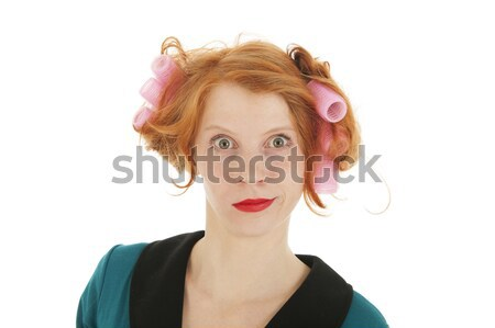 Woman with curlers in hair  Stock photo © ivonnewierink
