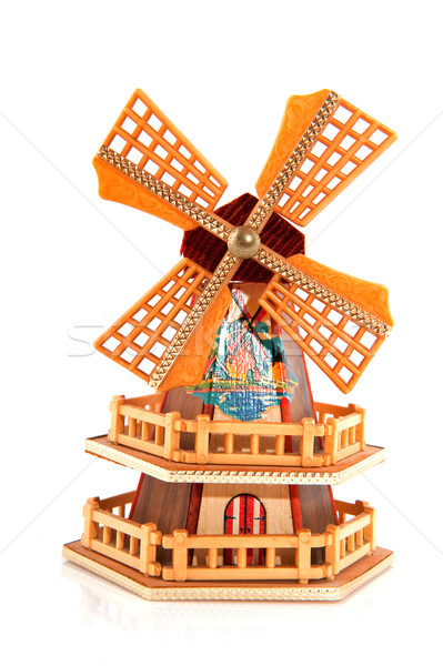 голландский сувенир миниатюрный Windmill белый здании Сток-фото © ivonnewierink
