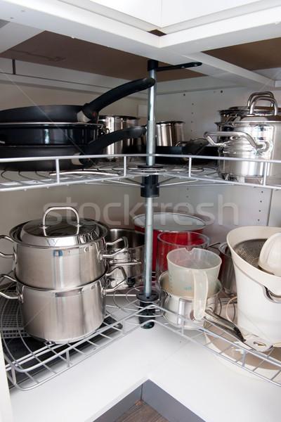 Konyha összes főzés konyhaszekrény étel szerszámok Stock fotó © ivonnewierink