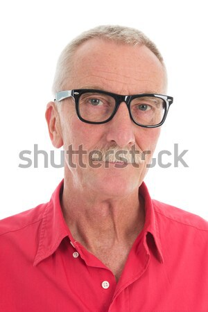 Nyugdíjas férfi portré bajusz piros póló Stock fotó © ivonnewierink