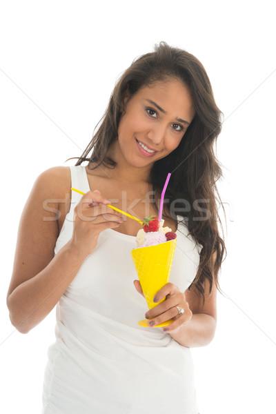 черную женщину еды фрукты шербет стекла Сток-фото © ivonnewierink
