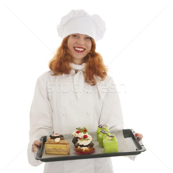 Kobiet piekarz kucharz dumny christmas Zdjęcia stock © ivonnewierink