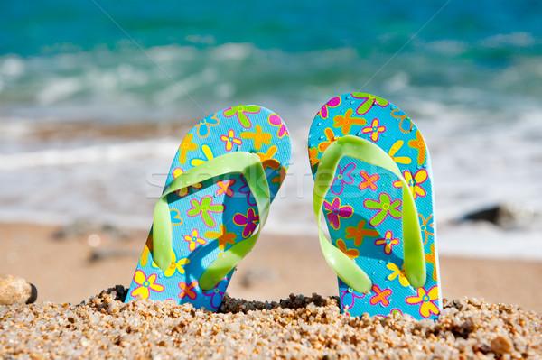 Standing flip flops at the beach Stock photo © ivonnewierink