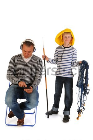 Stock photo: Sturdy father and son