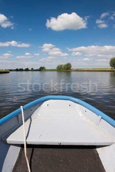 Nederlands rivier landschap water metaal bomen Stockfoto © ivonnewierink
