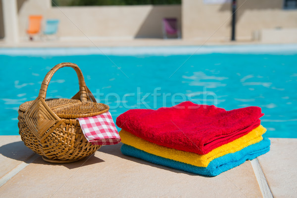 Towels at the swimming pool stock photo © Ivonne Wierink ...