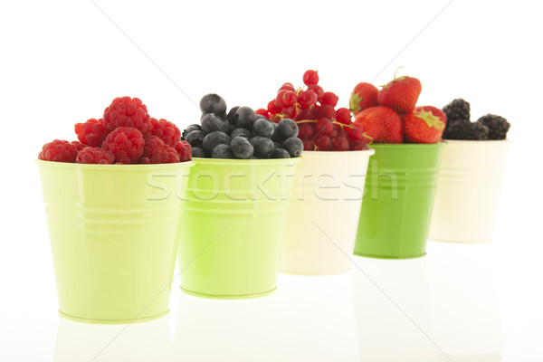 Buckets soft fruit isolated over white Stock photo © ivonnewierink
