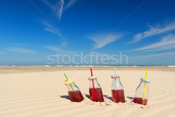 レモネード ドリンク ビーチ ボトル 飲料 わら ストックフォト © ivonnewierink