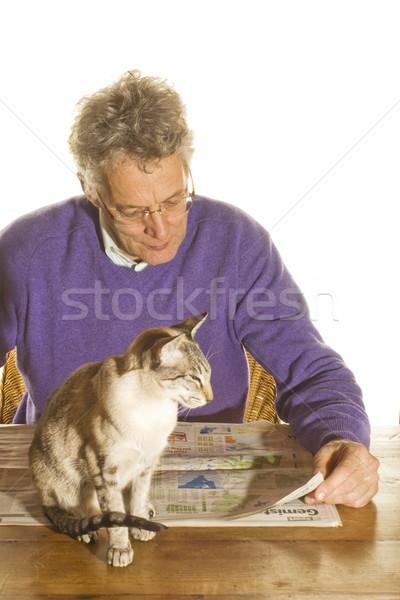 старший человека чтение газета сиамские кошки кошки Сток-фото © ivonnewierink