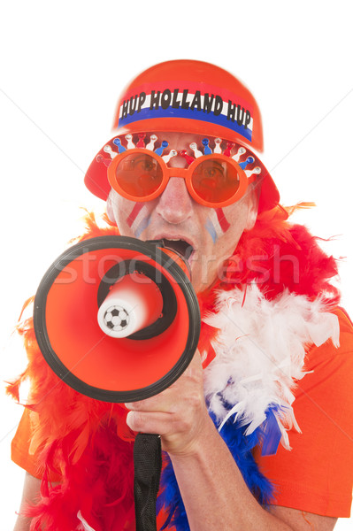 Stock fotó: Holland · futball · rajongó · férfi · megafon · portré