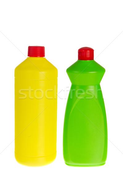 Butelek czyszczenia dwa plastikowe czystsze wybielacz Zdjęcia stock © ivonnewierink