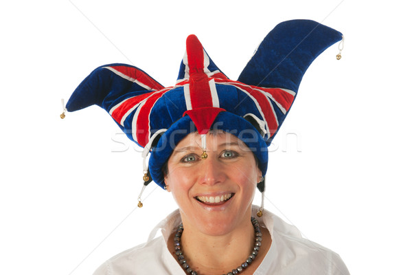 Stock photo: Woman with Brittain funny hat
